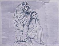 una mujer con un tigre blanco ilustración del vector