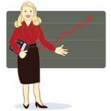 Una mujer con una calculadora se coloca cerca del diagrama Imágenes de archivo libres de regalías