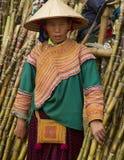 Una mujer de Hmong de la flor está vendiendo el bambú en Bac Ha Imagen de archivo