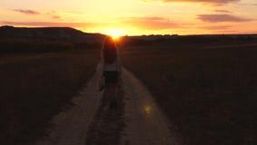 Una mujer de negocios camina a lo largo de una carretera nacional con una tableta en su mano, el miertsaet del sol entre las pier almacen de metraje de vídeo