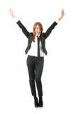 Una mujer de negocios con las manos en el aire Imagenes de archivo