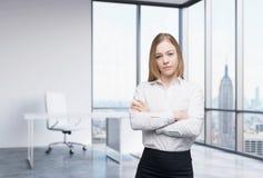 Una mujer de negocios en un lugar de trabajo en la oficina panorámica moderna en Nueva York, Manhattan Un concepto de ser asesor  Imágenes de archivo libres de regalías