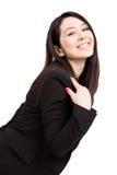 Una mujer de negocios linda alegre feliz Imagen de archivo libre de regalías