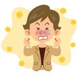 Una mujer del pelo corto que trabaja en la oficina que sufre de fiebre de heno ilustración del vector
