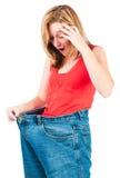 Una mujer delgada hace buena dieta Fotos de archivo libres de regalías