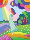 Una mujer embarazada en un prado. libre illustration