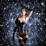 Una mujer en ropa interior erótica en un fondo nevoso Fotos de archivo