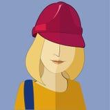 una mujer en un casco de la construcción en el vector Fotos de archivo libres de regalías