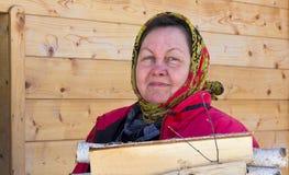 Una mujer en un pañuelo colorido lleva la leña del abedul Foto de archivo libre de regalías