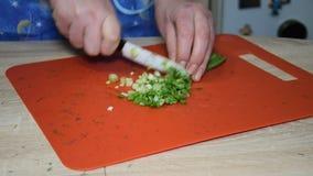 Una mujer está cortando una cebolla verde