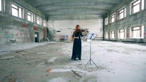 Una mujer está tocando el violín en un edificio trenzado almacen de video