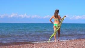Una mujer hace una pausa el mar metrajes