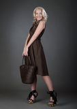 Una mujer hermosa con el bolso Foto de archivo