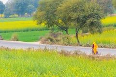 Una mujer india del pueblo en un camino imagenes de archivo