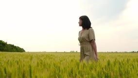 Una mujer joven entre los oídos verdes del trigo en el campo Mujer despreocupada hermosa que disfruta de la naturaleza en campo d metrajes