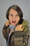Una mujer joven hermosa sorprendida Foto de archivo