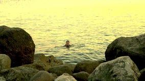 Una mujer joven nada en el mar entre las rocas en la puesta del sol metrajes