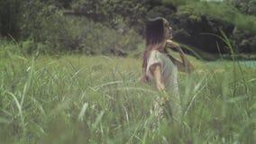 Una mujer joven que camina en cañas metrajes
