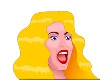 Una mujer joven rubia con los ojos azules con una cara sorprendida y una boca abierta Fotos de archivo libres de regalías