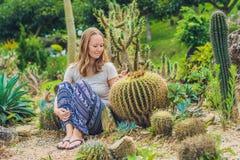 Una mujer joven se sienta en la tierra entre el cactus Concepto espinoso imagen de archivo