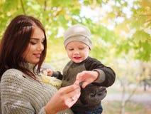 Una mujer juega con su hijo, deteniéndolo en brazos en un parque del otoño entre los árboles imagenes de archivo