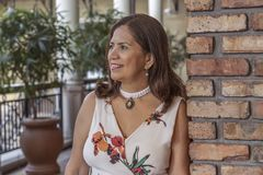 Una mujer madura latina sofisticada se inclina en una pared de ladrillo que mira lejos fotos de archivo