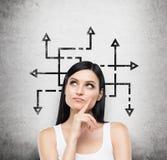 Una mujer morena que está reflexionando sobre soluciones posibles del problema complicado Muchas flechas con diverso directo Imagenes de archivo