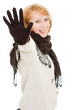 Una mujer muestra una parada de la mano imágenes de archivo libres de regalías