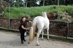 Una mujer que cuida para un caballo. Fotos de archivo libres de regalías