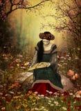 Una mujer que lee un libro ilustración del vector