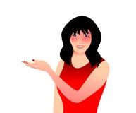 Una mujer que muestra algo Fotografía de archivo libre de regalías