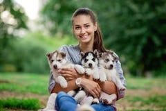 Una mujer sonriente hermosa con una cola de caballo y llevar una camisa rayada está sosteniendo tres perritos fornidos dulces en  imagen de archivo libre de regalías