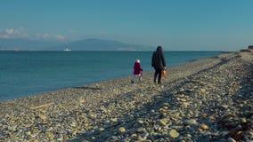 Una mujer y una niña están caminando a lo largo de la playa del mar, hablando el uno al otro, hablando con una mujer y una muchac almacen de video