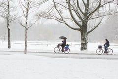 Una mujer y un hombre biking en un Vondelpark nevoso Imagen de archivo libre de regalías