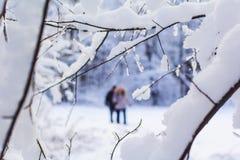 Una mujer y un hombre están caminando juntos en un bosque nevado Foto de archivo libre de regalías