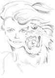Una mujer y un tigre en un modo Imagen de archivo libre de regalías