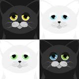 Una museruola di quattro gatti in uno stile del fumetto Fotografia Stock Libera da Diritti