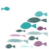 Una natación de los pescados contra muchos pescados Turguoise y pescados púrpuras Ilustración del vector en el fondo blanco ilustración del vector