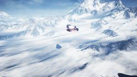 Una nave espacial que vuela sobre un planeta desconocido de la nieve Un concepto futurista de un UFO metrajes