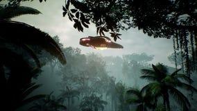 Una nave espacial que vuela sobre un planeta verde desconocido Un concepto futurista de un UFO representación 3d ilustración del vector