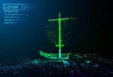 Una navegación poligonal del barco del vector en el mar agita Ejemplo de la rejilla Concepto para el asunto Imagenes de archivo