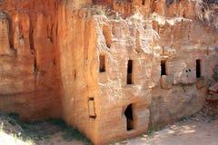 Una necropoli etrusca in Populonia antico, Italia Fotografia Stock Libera da Diritti