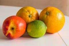 Una nectarina roja, una cal verde y dos naranjas Foto de archivo