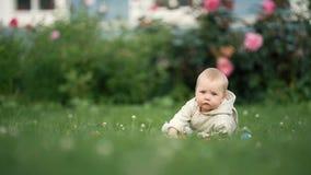 Una neonata allegra sta giocando sull'erba video d archivio