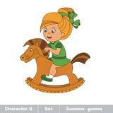 Una neonata del fumetto gioca il suo cavallo a dondolo Immagine Stock