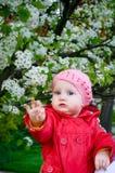 Una neonata nel giardino Fotografia Stock