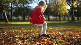 Una niña en un vestido rojo golpea las hojas con el pie caidas amarillo metrajes