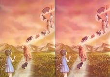 Una niña está diciendo adiós a sus animales domésticos y wh cariñosos de la familia Fotografía de archivo libre de regalías