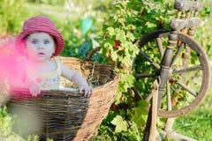 Una niña linda se sienta en un heno en una cesta en el jardín imágenes de archivo libres de regalías