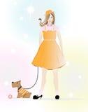 Una niña que va para una caminata con un perrito Imagen de archivo libre de regalías